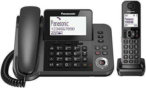 Panasonic KX-TGF320EXM Telefono a Filo abbinato a Cordless DECT con Segreteria Telefonica, LCD Monocromatico Inclinabile, Funzionamento con Alimentazione di Emergenza, Nero