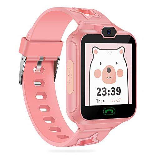 AGPTEK Smartwatch Bambini 8 in 1 Orologio Intelligente per Bambini con Telefonie Fotocamera Lettore Musicale Mini Giocatore Registratore Vocale Sveglia Calcolatrice, Rosa