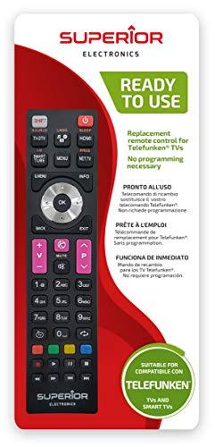 Superior TELEFUNKEN Replacement - Telecomando di ricambio universale compatibile con tutti i TV e SMART TV di marca TELEFUNKEN - Pronto all'uso non richiede programmazione
