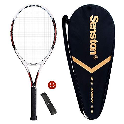 Senston Racchetta da Tennis da 27'' con Custodia Premium per Il Trasporto, Set di Racchetta da Tennis, Include 1 Overgrip + 1 ammortizzatori per Vibrazioni (Bianca)