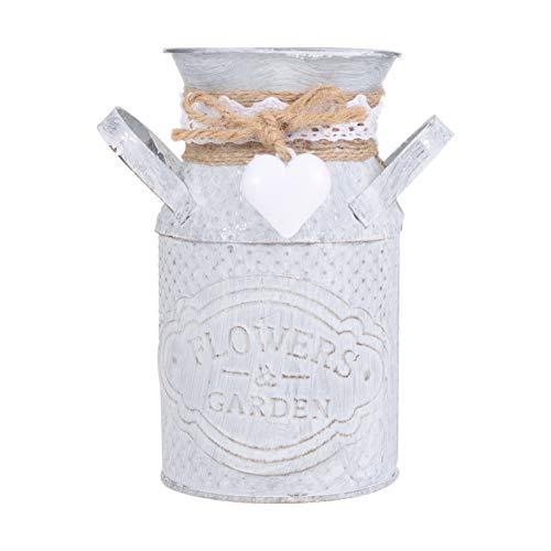 HEMOTON Vaso rustico shabby chic stile retrò brocca vaso zincato latte lattina titolare ferro arte piante grasse fiore espositore contenitore per casa ufficio giardino argento