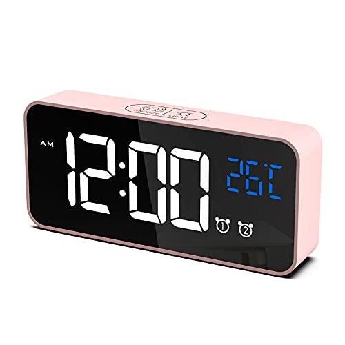 CHEREEKI Sveglia Digitale, LED Sveglia da Comodino con Temperature, 2 Sveglie, Snooze, 12/24 Ore per Casa e Ufficio (Rosa)