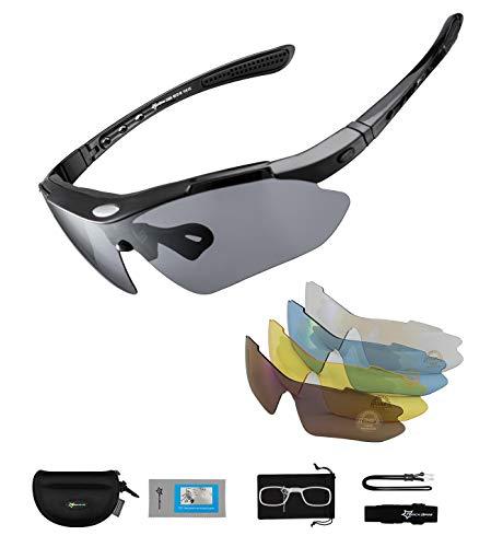ROCKBROS Occhiali da Sole Ciclismo per Bicicletta MTB 5 Lenti Intercambiabili Occhiali Polarizzati Sportivi Anti-UV 400 Ultraleggeri Uomo Donna Unisex per Ciclismo Corsa Pesca Guida