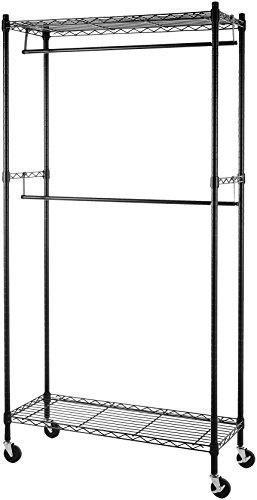 Amazon Basics - Stand appendiabiti a doppia barra con rotelle - Nero