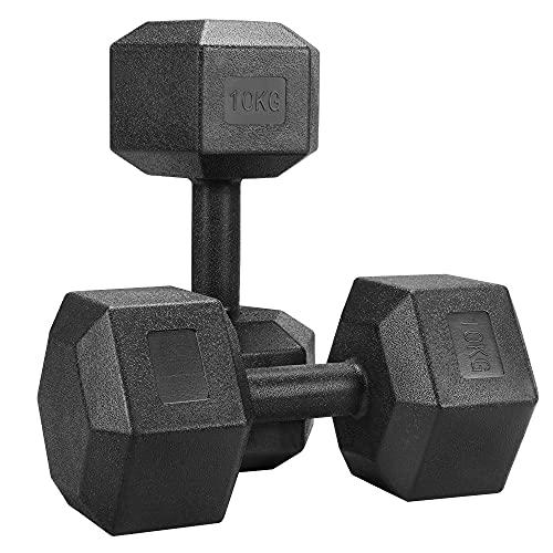Yaheetech Set 2 Manubri Esagonali 10 kg per Palestra Casa in Ferro e PVC Antiscivolo Nero 2 Pezzi