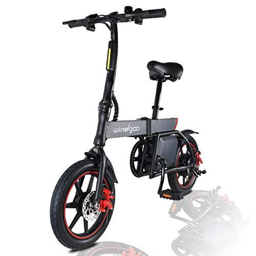MoovWay Windgoo Bicicletta Elettrica Pieghevole con Pedali, Sedile Regolabile, Compatta Portatile, velocità Massima 25km/h, Autonomia 18km, Pneumatici 14 Pollici, modalità Crociera (Nero)