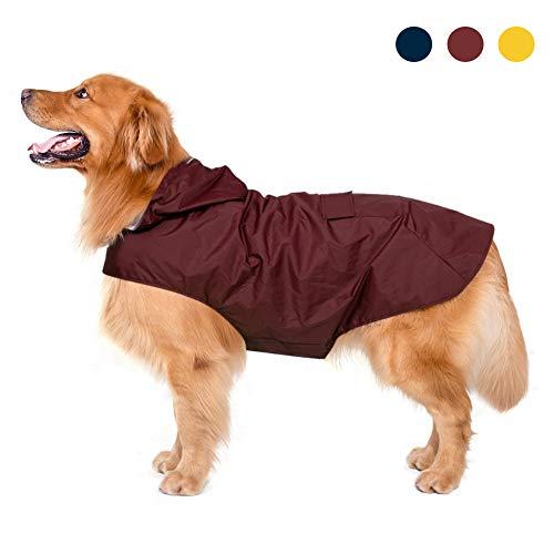 Zellar Impermeabile per Cani con Cappuccio e Foro per Colletto e Strisce Riflettenti protettive, Impermeabile Ultraleggero e Impermeabile 100% Impermeabile Cani di Taglia Media Large