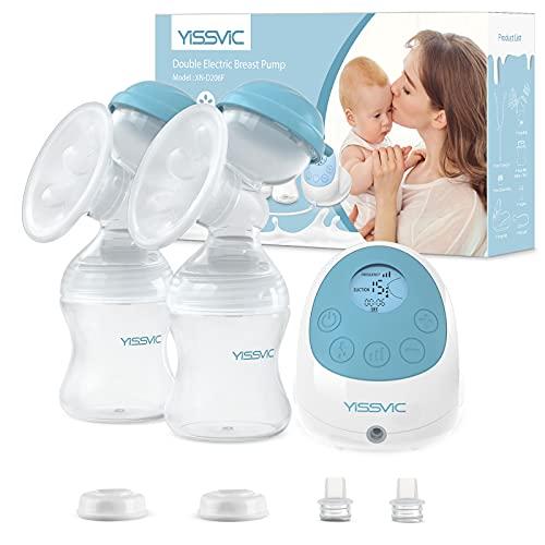 YISSVIC Tiralatte Elettrico Doppio Funzione di Massaggio Memoria Ricaricabile 15 Livelli di Aspirazione Senza BPA Perfetta per L'allattamento al Seno