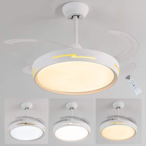 Ventilatore da soffitto 4 pale a scomparsa richiudibili,Ventilatore a soffitto con luce e telecomando,tempismo,6 velocità,Silenzioso,Dimmerabile Ventilatore da soffitto con funzione Inverno/Estate