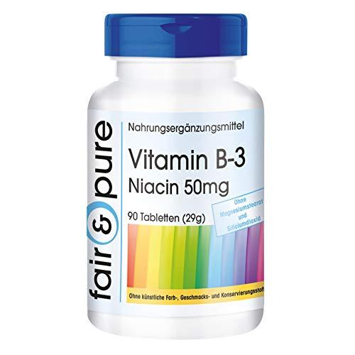Vitamina B3 50mg - Niacina in forma di Nicotinamide - Flush Free - Vegan - e senza additivi - 90 Compresse