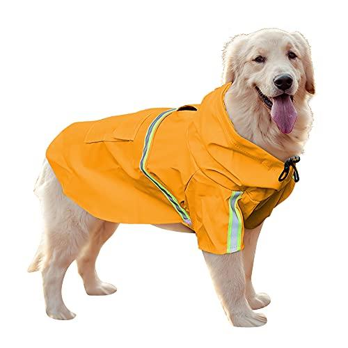 Uktunu Impermeabile per Cani Cappottino Catarifrangente per Cani Gatto con Cappuccio e Foro per Colletto e Strisce Riflettenti Protettive Ultraleggero e Impermeabile 100% - Arancia, 4XL