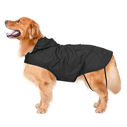 Bwiv Impermeabile per Cani Extra Large con Cappuccio con Strisce Riflettenti Giacca Antipioggia per Cani 100% Impermeabile Nero 5XL