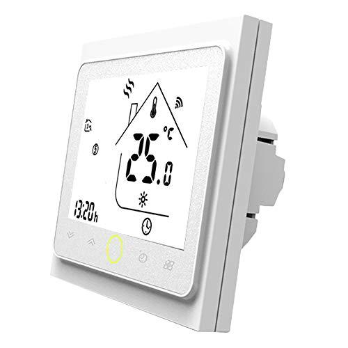 Termostato WiFi per Caldaia a Gas,Termostato intelligente Schermo LCD(TN schermo) Touch Button Retroilluminato Programmabile con Alexa ecc e Telefono APP-Bianco