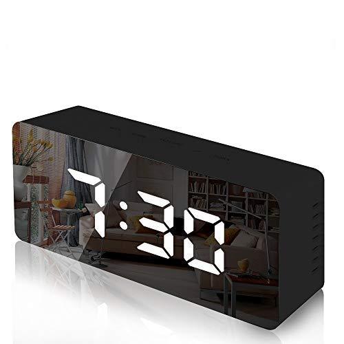 Lambony Sveglia - Sveglia Digitale a Specchio con Temperatura, Display a LED, luminosità Regolabile, USB e alimentata a Batteria, per Camera da Letto, Ufficio, Nero, 14,6 x 8,4 x 4,2 cm