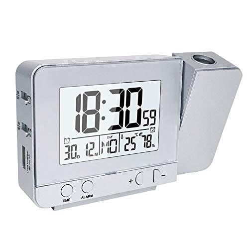 Houkiper Sveglia con Proiettore, Sveglia Digitale Da Comodino a Pile Sveglia Luminosa, Orologio Digitale Da Comodino Oorologio Con Proiezione Ora Temperatura Soffitto