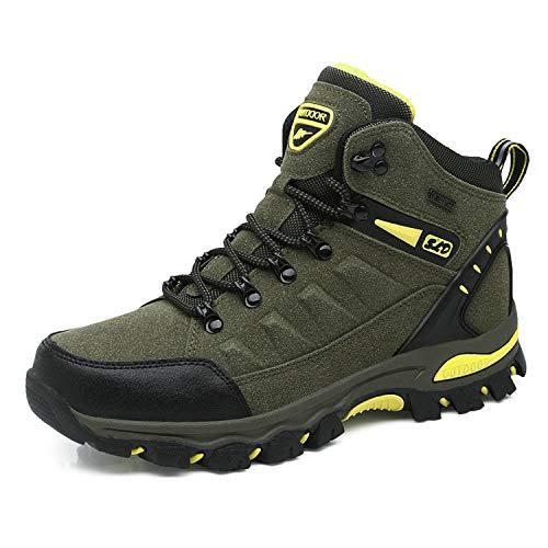 WOWEI Scarpe da Escursionismo Arrampicata Sportive All'aperto Impermeabili Traspiranti Trekking Sneakers da Donna Uomo,Verde 1,43