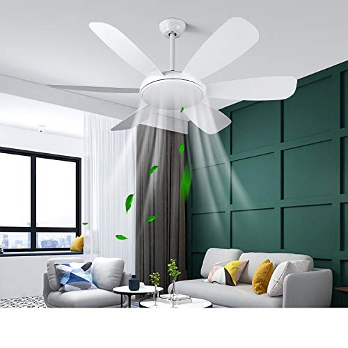Albrillo Ventilatore da Soffitto con Lampada – Ø132 cm Lampadario Ventilatore con Telecomando, Super Silenzioso, 3 Temperatura di Colore e 6 Velocità del Vento, Timer e Funzione Inversione, con 6 Pale