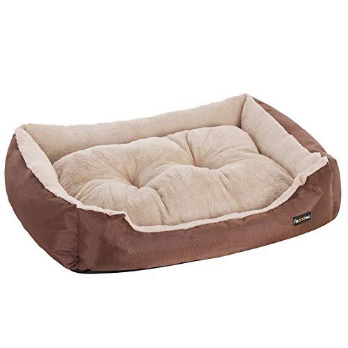 FEANDREA Cuccia Letto per Cani Reversibile, 65 x 55 x 20 cm, Marrone PGW03Z
