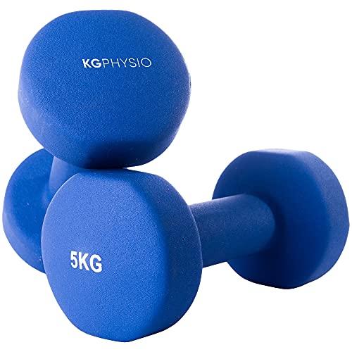 KG PHYSIO Manubri Palestra Kit Pesi da Palestra da 10 kg con Rivestimento in Neoprene, Impugnatura Comoda, Pesi Fitness con Tecnologia antirollio e Resistente al Sudore (2 x 5KG)