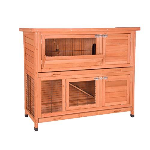 EUGAD Gabbia per Conigli Criceto Conigliera da Interno Esterno Giardino con 2 Piani Casa per Piccoli Animali in Legno Rosso 0001TL