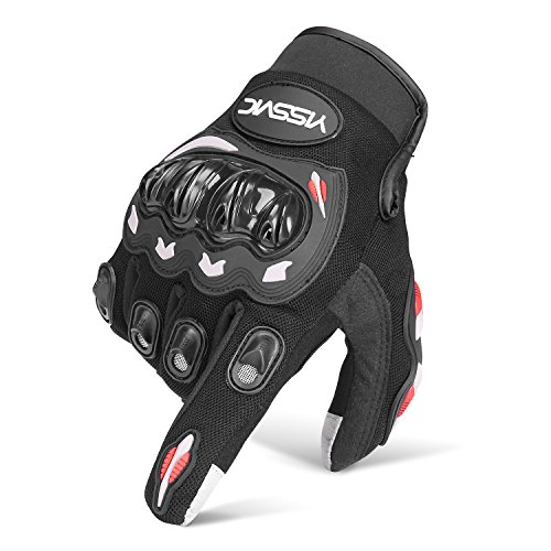 YISSVIC Guanti da Moto, 1KP Touch Screen Antivento Antiscivolo con Fori Traspiranti per Arrampicata Alpinismo Escursioni Motociclista Moto - Nero L