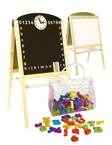 Leomark lavagna per bambini 2in1, lavagna per dipingere, lavagna magnetica in legno compresi accessori oltre 100 pezzi, giocattoli educativi, dimensioni: 45cm x 35cm x 85cm (LxPxA)
