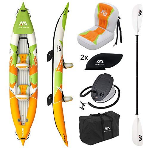 "AM AQUA MARINA Kayak Gonfiabile a 2 posti in Set BETTA-412 2020 13'6 ""Canoa Kayak per 2 Persone a 2 posti con pagaia, Pompa, Borsa 412 x 80 cm Arancione/Verde"