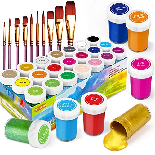 RATEL Set da Colori Acrilici, Set di 31 PCS Premio Pittura Acrilica Compreso 21 x 20 ml Pigmento Acrilico +10 Pennellino- Colori Vibranti Colore Acrilico per Carta, Roccia, Legno, Ceramica