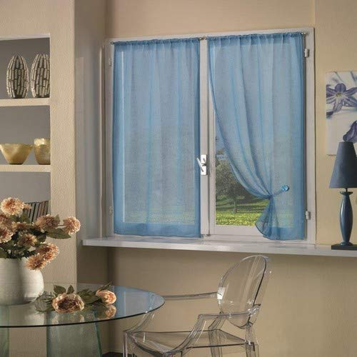 Home Collection TCBUC113/150 Tendina Coppia Boucle, Poliestere, Soft Blu, 70 x 150 cm, 2 Unità