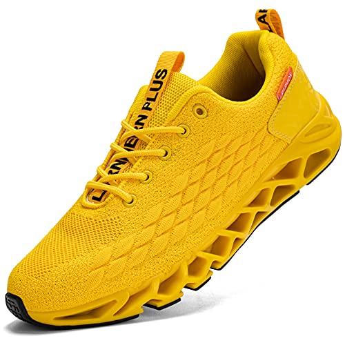 LARNMERN Scarpe da Ginnastica Uomo Donna Corsa Respirabile Mesh Sportive Fitness Running Sneakers Basse Interior Casual all'Aperto(Giallo 41)