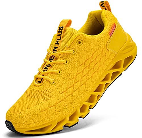 LARNMERN Scarpe da Ginnastica Uomo Donna Corsa Respirabile Mesh Sportive Fitness Running Sneakers Basse Interior Casual all'Aperto(Giallo 42)