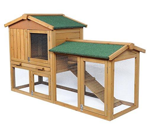 EUGAD Conigliera da Esterno per Conigli Gabbia da Giardino a 2 Piani in Legno Casetta per Piccoli Animali Marrone Chiaro 0034HT