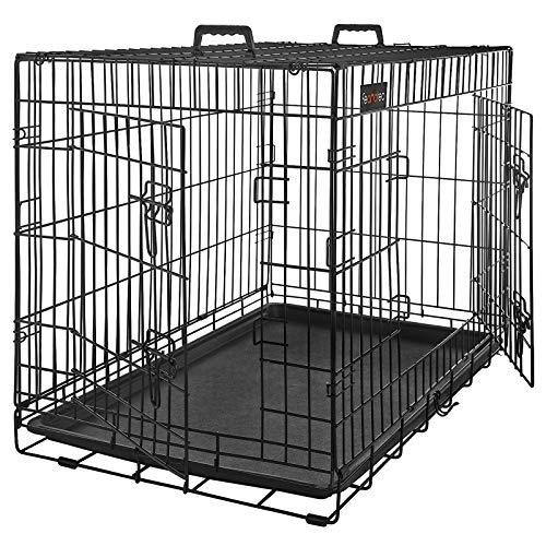 FEANDREA Gabbie Pieghevole per Cuccioli, Trasportino in Metallo per Cane, Gabbia per Animali con 2 Porte, XXXL 122 x 76 x 81 cm, Nero PPD48H
