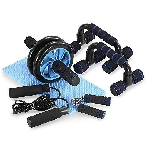 Tomshoo Ab Wheel - Set fitness per addominali, 5 in 1, per la casa, con maniglie per flessioni, corda per saltare e rafforzare i muscoli addominali, per uomini e donne