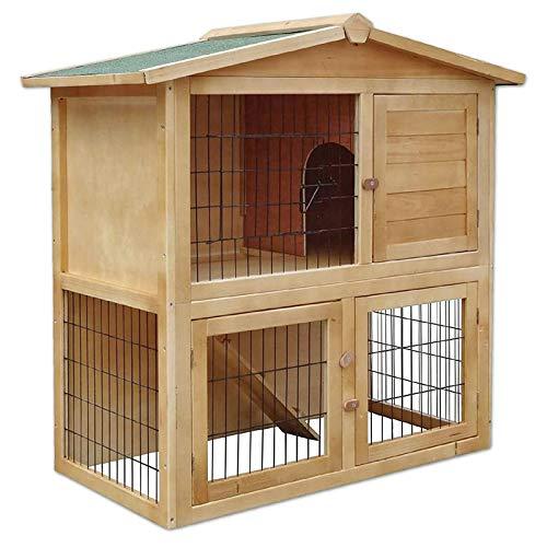 lionto by dibea Gabbia coniglio legno Casetta animali da compagnia Gabbia esterno 98x54x100 cm