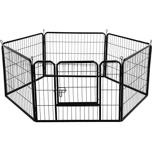 Yaheetech Recinto per Cani Cuccioli Conigli Gatti Animali Domestici da Interno e Esterno Giardino Rete Recinzione Ferro 6 pz 60 x 80 cm