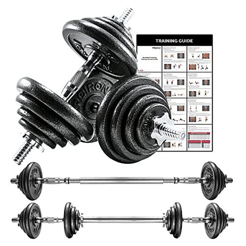 PROIRON Ghisa 20Kg Manubri Regolabili Set Con Prolunga Barra Della Maniglia Perfetta per Body Building, Pesistica Fitness, Allenamento, Palestra Casa