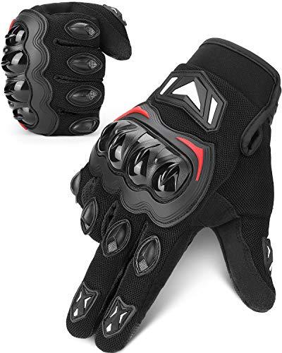 Guanti da Moto, CE 2PK Omologati Touchscreen Guanti Moto Estivi Sportivi Protettivo Resistente per Uomo Donna Guanti Motocross L Nero