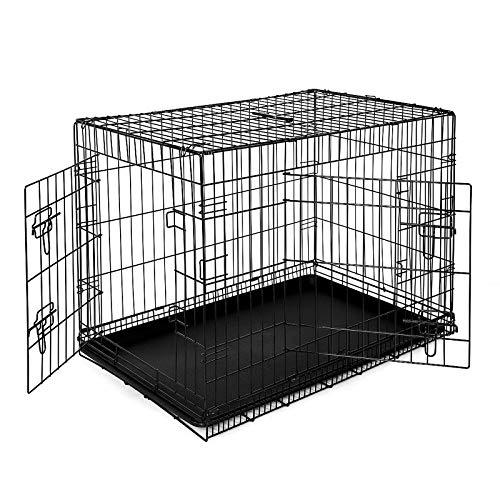 lionto by dibea Gabbia di transporto pieghevole per cuccioli per cani con 2 porte (XL) 92x58x64 cm