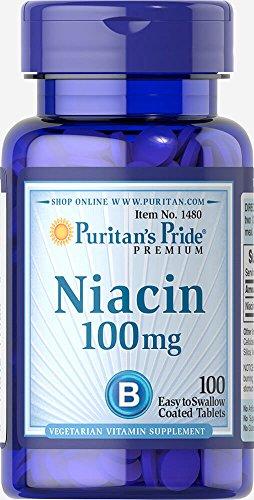 Puritan's Pride Niacin Confezione da 1 x 100 Compresse Vitamina B3 PP Vegetariano