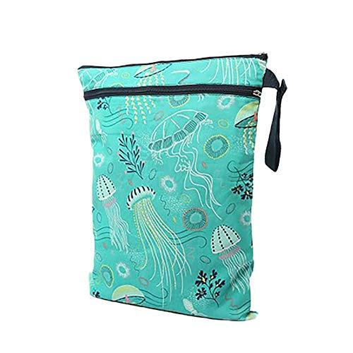 Lubier, 1 borsa per pannolini con 2 zip, lavabile, riutilizzabile, in stoffa per pannolini, verde