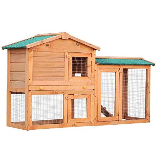 PawHut – Conigliera in Legno Gabbia per Animali Domestici 145 x 46 x 85cm Marrone