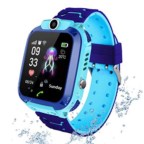 Kids Smart Watch Phone per Bambini IP67 Impermeabile, Orologio Smart Phone LBS Anti-perso con Chat Vocale, Sveglia SOS per il Gioco di Matematica Studente Smart watch, Regalo Ragazzo e Ragazza (blu)