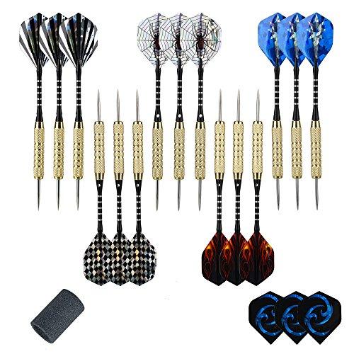 moonlux Set 15 Freccette con Punte in Acciaio, Freccette Corpo in Alluminio e Extra 18 Alette
