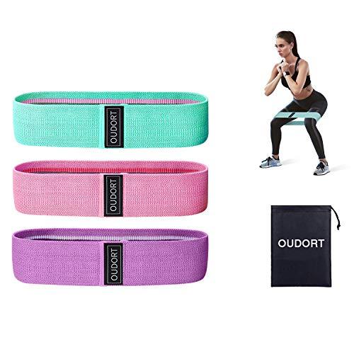 Oudort Set di 3 Fasce Elastiche Fitness, Bande Elastiche Resistenza in Tessuto con 3 Livelli di Resistenza per Esercizi Gambe e Glutei, Pilates, Palestra, Yoga, Crossfit