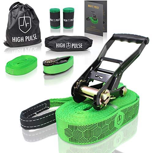 High Pulse® Slackline kit|15m -Set completo di cricchetto e protezione, corda ausiliaria, corda ausialiaria bilanciamento, protezione albero e borsa (cinghia 12,5 m+cinghia cricchetto 2,5 m)