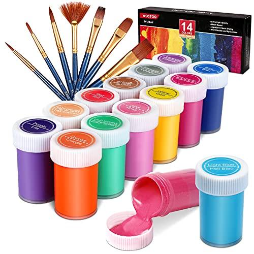 WOSTOO 14 Colori Acrilici, 21pcs Set da Pittura Acrilica, Compreso 20ml*10 Colori di Base+ 4 Colori Acrilico Metallico+ 7 Pennelli Pittura, Colori Vibranti Colore per Dipingi su Tela,Legno,Ceramica