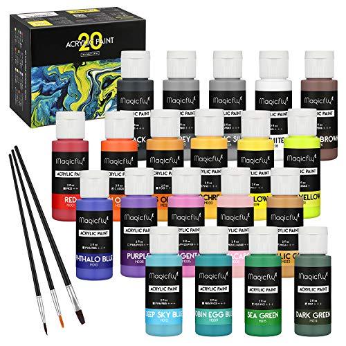 Magicfly - Set di 20 Colori acrilici, 60 ml ciascuna, Colori Professionali con 3 pennelli, Pittura multisuperficie su Tela, Carta, Legno, Pietra, Ceramica e Modello