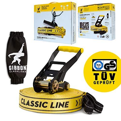 Gibbon Slacklines Classic Line, giallo, 25 metri (22,5 m slackline + 2,5 m di fettuccia slackline con cricchetto cucito), con cricchetto con protezione e blocco di sicurezza, larghezza 2