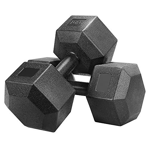 Yaheetech Coppia Manubrio 10 kg Esagonale per Palestra Casa in Ferro e PVC Antiscivolo Nero 2 Pezzi